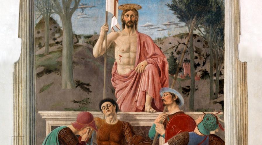 """Fresk z wnętrza ratusza w Sansepolcro """"Zmartwychwstanie"""", autorstwa włoskiego malarza Piero della Francesca. Dzieło ukończono ok.1465 r. Był to rodzaj symbolu miasta, którego nazwa oznacza Święty Grób. Obecnie jest przechowywany w miejscowym Museo Civico"""